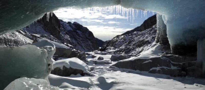 View from a remote ice cave in the Eagle glacier in Juneau, Alaska.